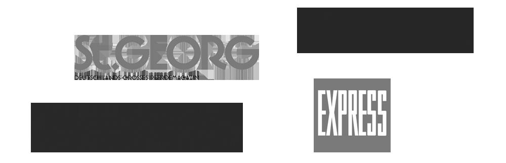 Logos der Publikationen, die über denken Pferdemaler Hartmut Hellner berichten