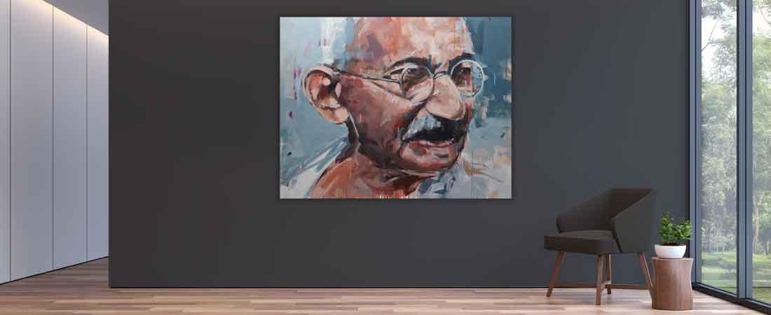 Portraitmalerei –Leinwanddruck in einem modernen Wohnzimmer
