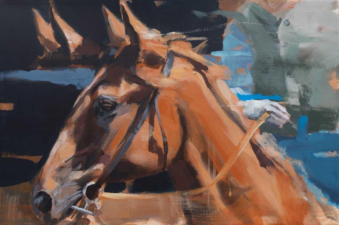 Pferdemalerei – Vollblutperd vor dem Rennen